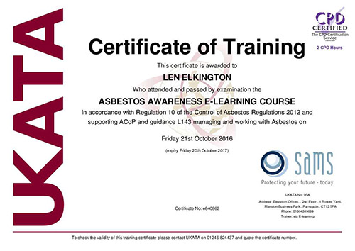Asbestos awareness course Locksmith