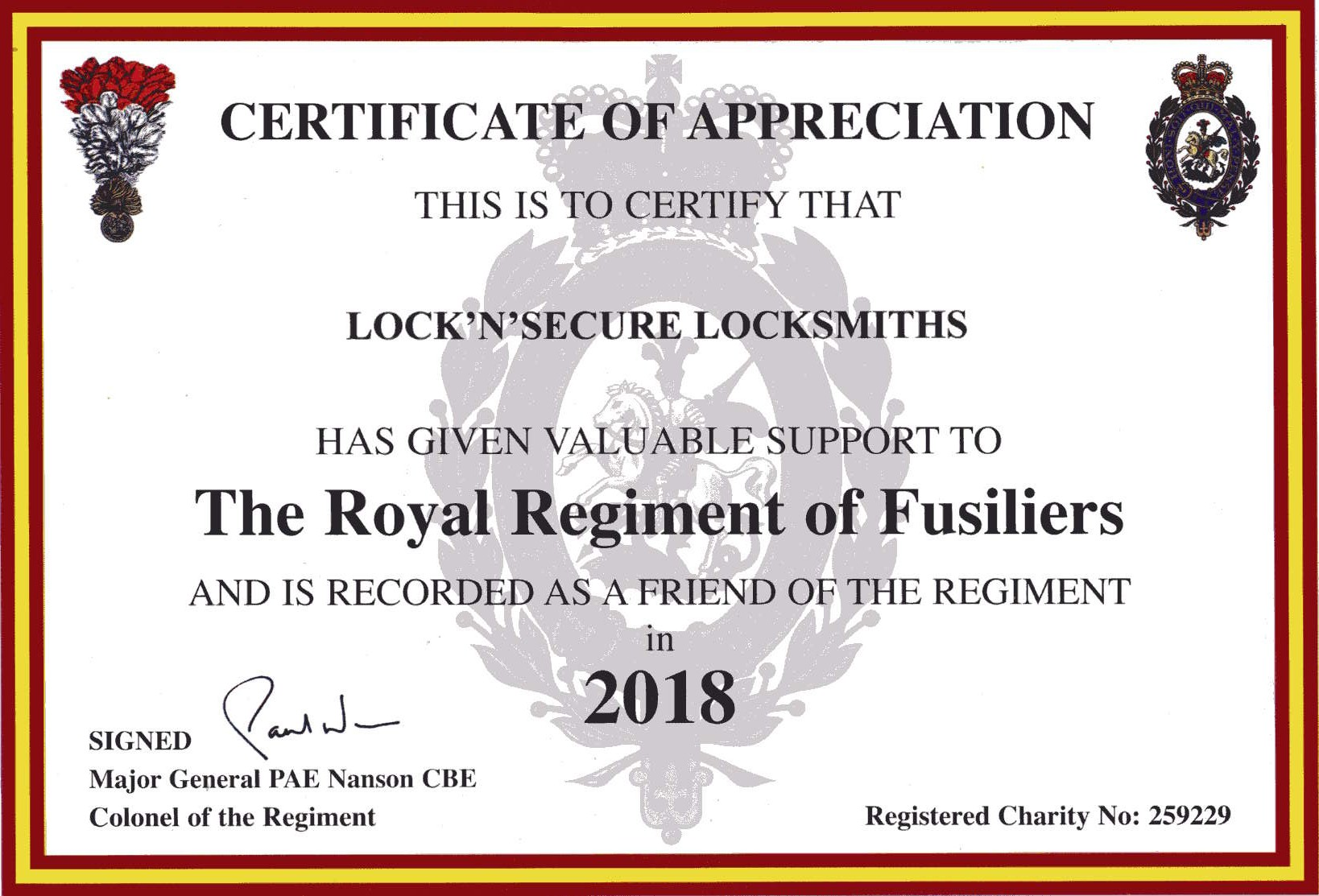 Lock'n'Secure friend of Royal Regiment of Fusiliers