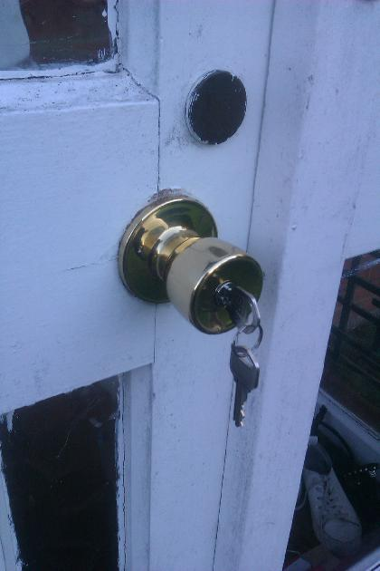 New Locking handle (Knob) set fitted - outside view